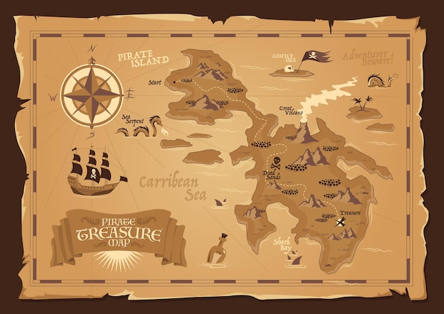 Detailed map of pirate treasure with frayed edges in vintage style flat illustration
