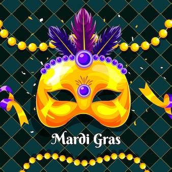 マスクと羽の詳細なマルディグラのイラスト