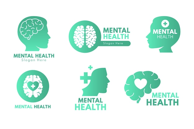 Detailed mental health logos collection
