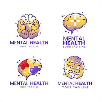Detailed mental health logos set