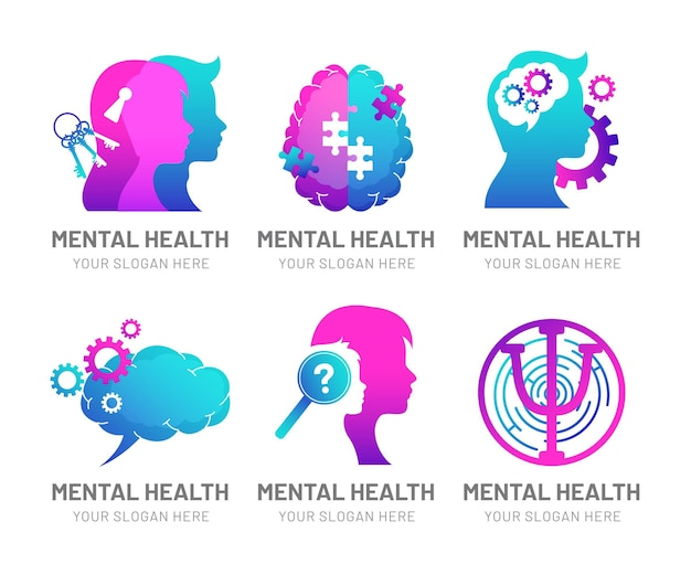 Detailed mental health logos