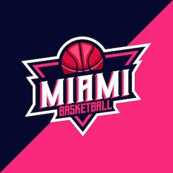 Detailed miami basketball esport and sport logo template