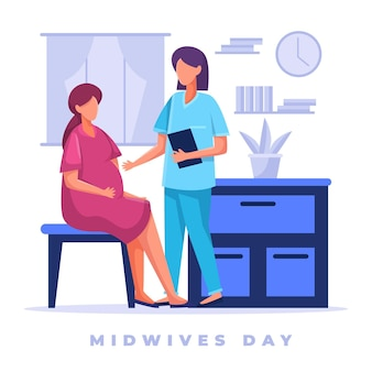 Detailed midwives day illustration