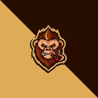 자세한 원숭이 마스코트 로고