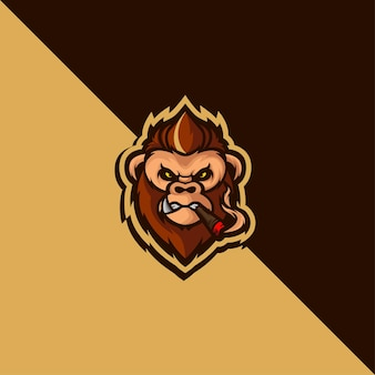 Detailed monkey mascot logo