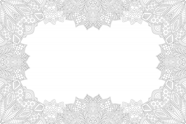Detailed monochrome frame for coloring book page
