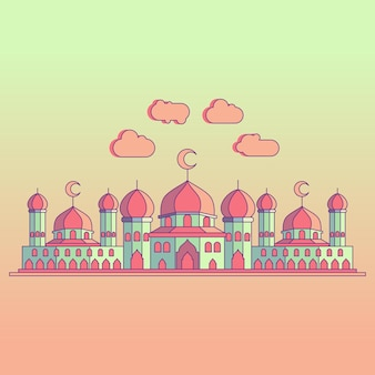 Detailed mosque colorful illustration with shading