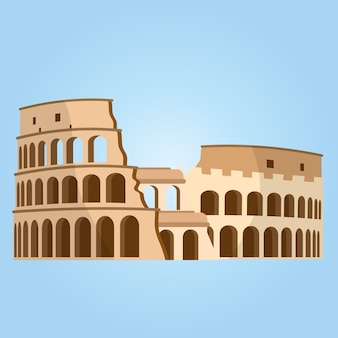 Detailed most famous world landmark. coliseum in rome, italy. colosseum vector.