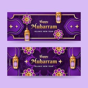 Detailed muharram banners set