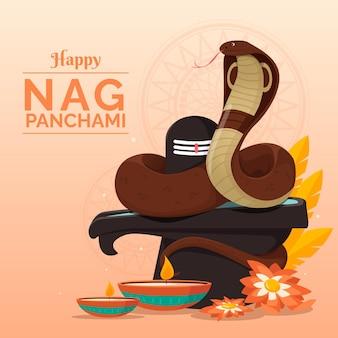 Detailed nag panchami illustration