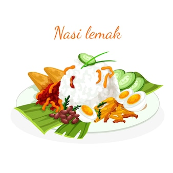 Detailed nasi lemak food illustrated