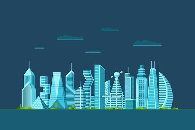 다른 건축 건물 고층 빌딩 아파트와 상세한 밤 미래 도시. 미래 지향적인 다층 사이버펑크 그래픽 도시 경관 마을. 벡터 부동산 도시 건설 그림