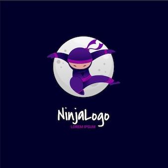 Подробный шаблон логотипа ниндзя Premium векторы