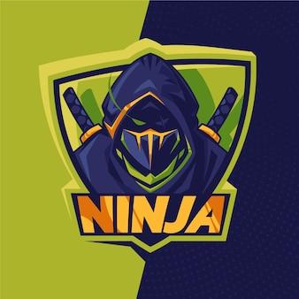 Подробный шаблон логотипа ниндзя
