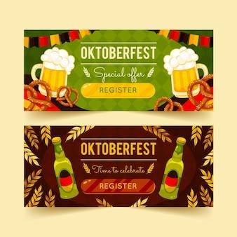 Detailed oktoberfest horizontal banners set