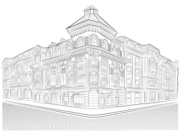 Detailed old buildings. street corner vector drawing.