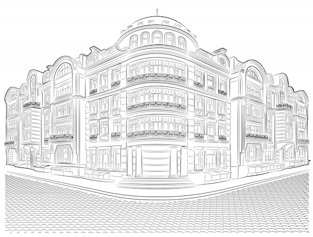 Detailed old buildings on the street corner vector drawing.