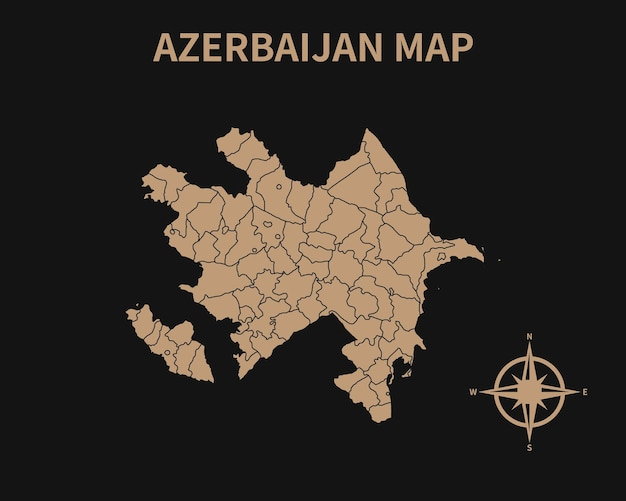 Detailed old vintage map of azerbaijan with compass and region border isolated on dark background
