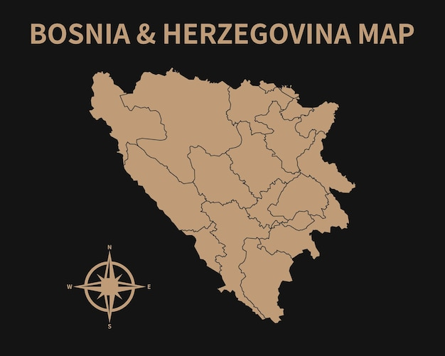 Detailed old vintage map of bosnia herzegovina with compass and region border isolated on dark