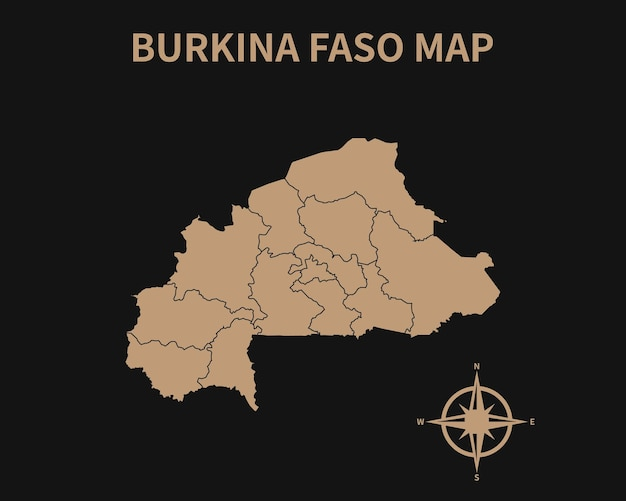 Detailed old vintage map of burkina faso with compass and region border isolated on dark background