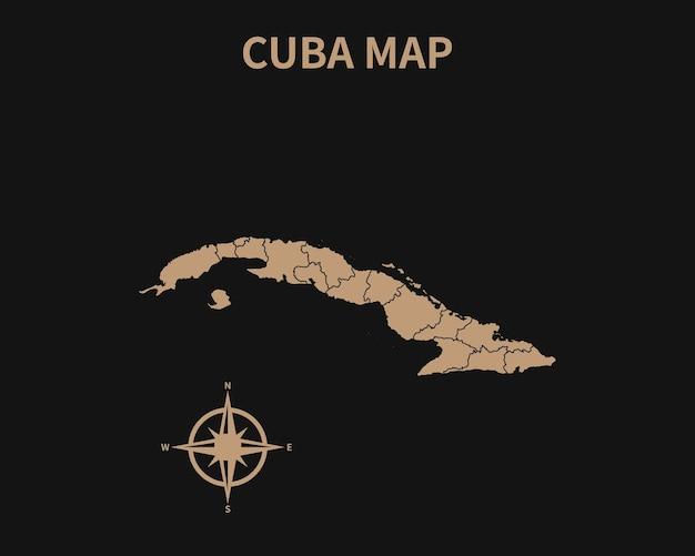 나침반과 어두운 배경에 고립 된 지역 테두리와 쿠바의 상세한 오래 된 빈티지 지도