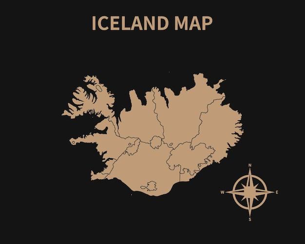 暗い背景で隔離コンパスと地域の境界線とアイスランドの詳細な古いヴィンテージ地図