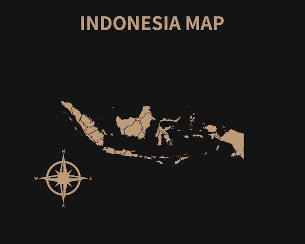 Подробная старая винтажная карта индонезии с компасом и границей региона, изолированные на темном фоне