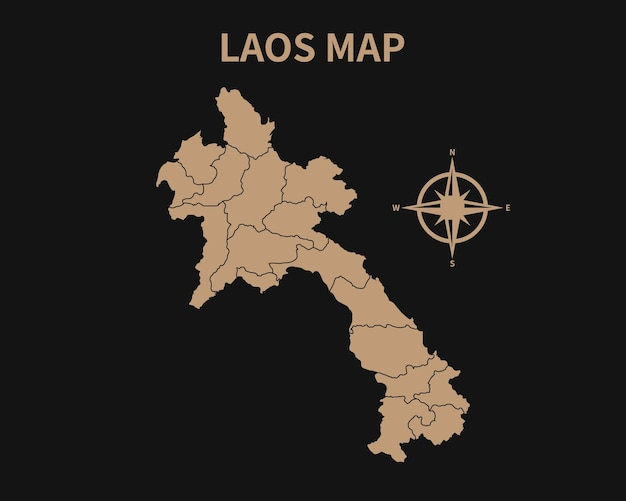 Подробная старая винтажная карта лаоса с компасом и границей региона, изолированные на темном фоне