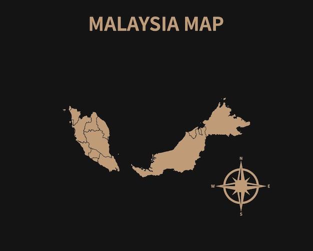Подробная старая винтажная карта малайзии с компасом и границей региона, изолированные на темном фоне