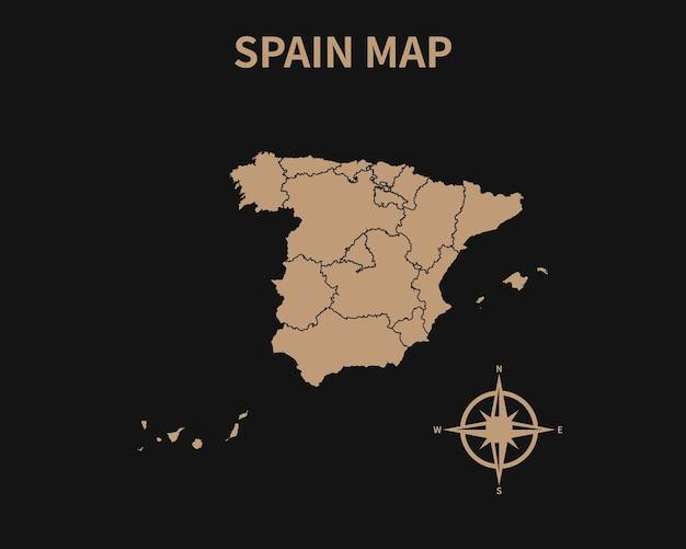 어두운 배경에 고립 된 나침반과 지역 테두리 스페인의 상세한 오래 된 빈티지 지도