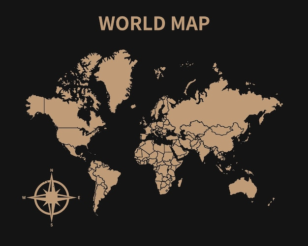 Detailed old vintage map of world with compass and region border isolated on dark background