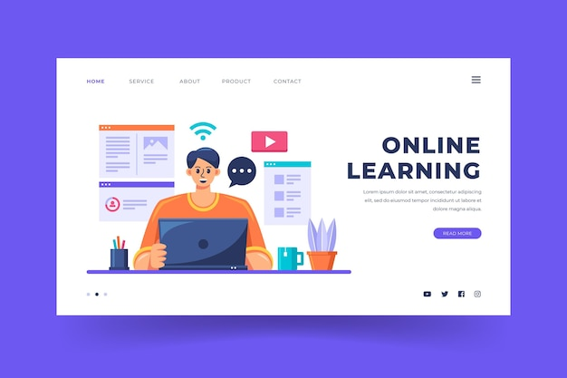 Detailed online learning landing page template