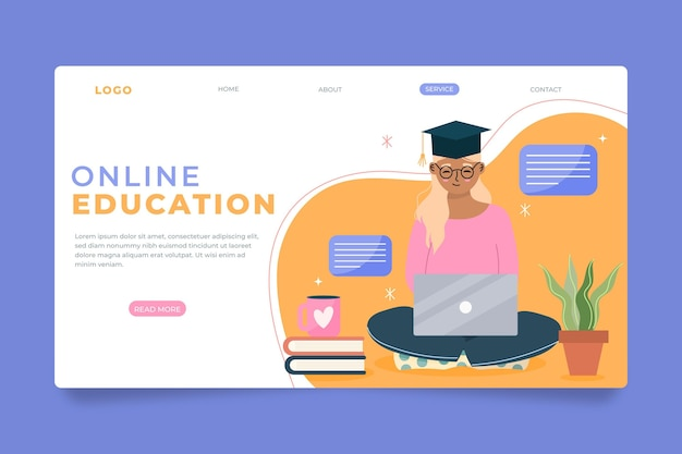 자세한 온라인 학습 방문 페이지 템플릿
