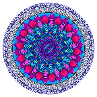 Detailed ornamental mandala in purple and blue. ethnic ornament.