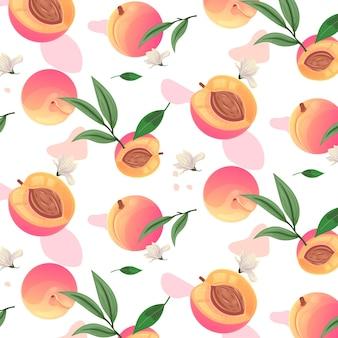 詳細な桃のパターンデザイン
