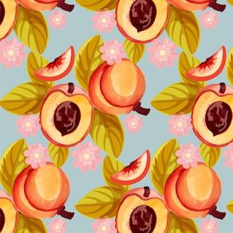 자세한 복숭아 패턴 디자인