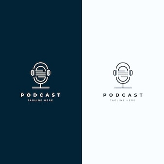 Detailed podcast logo on different colored background