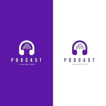 白と紫の背景に詳細なポッドキャストのロゴ