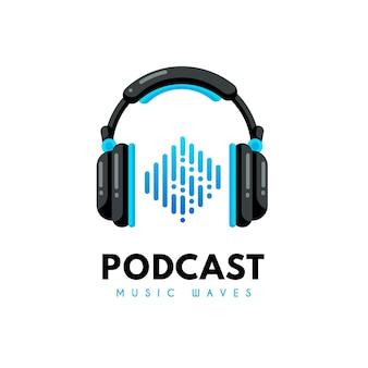 Modello di logo podcast dettagliato con le cuffie