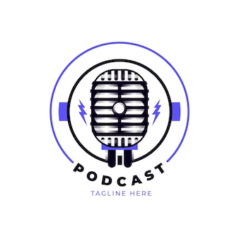 Detailed podcast logo template with microphone
