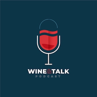 Detailed podcast logo with wine glass