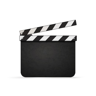 Detailed realistic movie clapper with copy space isolated on white