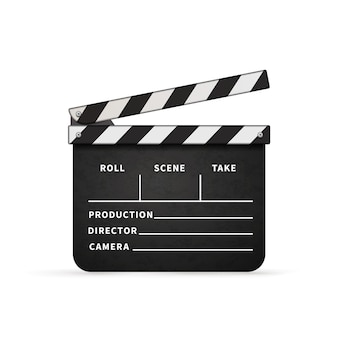 Detailed realistic movie clapper with copy space on white