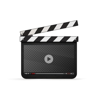 Detailed realistic movie clapper with video player template isolated on white