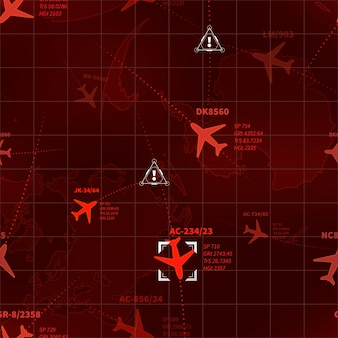 Detailed red military radar with planes traces and target signs seamless pattern
