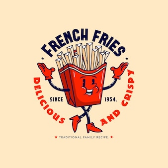 Detailed retro cartoon restaurant logo
