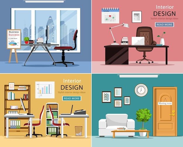 Detailed room interiors with office tables, chairs, laptops and office supplies.