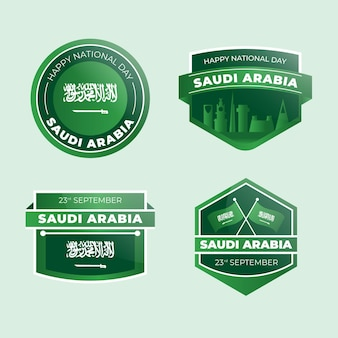 詳細なサウジアラビア建国記念日ラベルコレクション