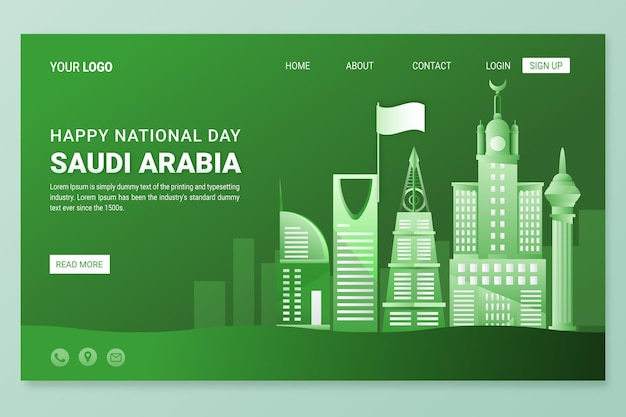 詳細なサウジアラビア建国記念日ランディングページテンプレート