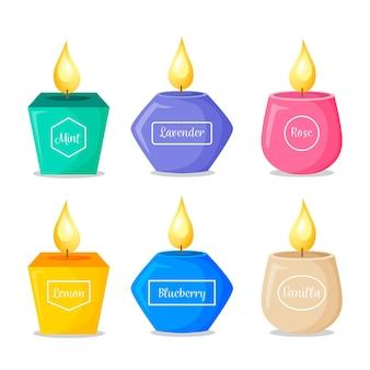 Collezione dettagliata di candele profumate